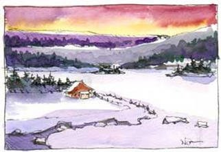 Artist: Nancy Overbury - Title: House On Black Lake - Medium: Watercolor - Year: 2002
