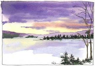 Artist: Nancy Overbury - Title: Icy Reflections - Medium: Watercolor - Year: 2002