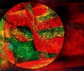 Shahid Rana: 'allaho samad', 2017 Mixed Media, Abstract. Artist Description: The main word  Allaho samas  derived from islamic sura  Sura e Ikhlas , made in stylized and unique form. It is an original painting, created by  shahid rana , shahid rana is a well known artist of Pakistan. ...