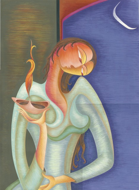 Shahid Rana  'Lady With Lamp', created in 2009, Original Painting Acrylic.