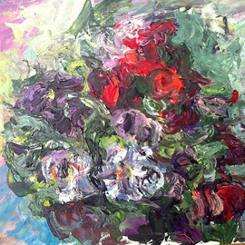 Zsuzsa Naszodi Artwork Carls Bouquet , 2013 Acrylic Painting, Floral