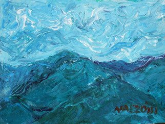 Landscape Acrylic Painting by Zsuzsa Naszodi Title: Landscape at the Danube bend  1 , created in 2010