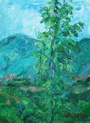 Landscape Acrylic Painting by Zsuzsa Naszodi Title: Landscape at the Danube bend  2, created in 2010