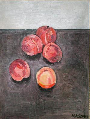 Zsuzsa Naszodi Artwork New York peaches, 2002 Oil Painting, Still Life