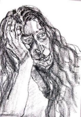 Portrait Charcoal Drawing by Zsuzsa Naszodi Title: Woman with long hair, created in 2004