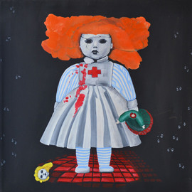 Natalia Sofyina: 'Matilda', 2013 Oil Painting, Mystical. Artist Description:  mystical, abstract, surreal, horror, scary, blood, painting, oil painting, oil on canvas, figurative, macabre, toy, doll, nurse, killer, fantasy, magical  ...