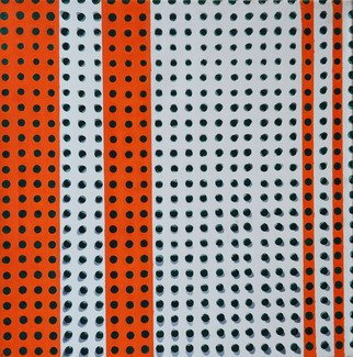Natalia Sofyina Artwork 'Orange Rhythm', 2013. Oil Painting. Geometric. Artist Description: geometric, abstract, painting, oil on canvas, green, orange, dots, shapes, composition, shadows, illusion, flat ......