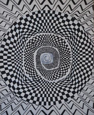Natalia Sofyina Artwork 'Spiral of Time', 2012. Oil Painting. Geometric. Artist Description: geometric, abstract, painting, oil on canvas, geometric abstraction, black and white, optical illusion, flat, composition, checkerboard ......