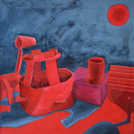 Natalia Sofyina: 'Still Life in Red', 2013 Oil Painting, Still Life. Artist Description:  still life, abstract, surreal, boat, ship, horse, cube, cup, sun, red, blue, oil painting, oil on canvas, original, composition, painting, canvas, modern, lyrical , figurative, color, surrealism...