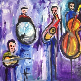 Natalia Gromicho: 'jazz', 2016 Acrylic Painting, Abstract Figurative. Artist Description: Belongs to a collection that the artist created about Jazz and Blues 2016...