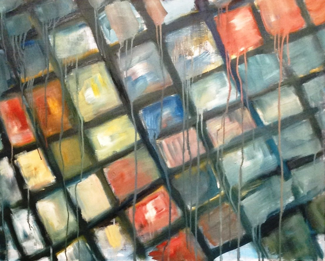 Natalia Gromicho: 'lisbons sidewalk', 2013 Oil Painting, Abstract. Artist Description: One of the few oilA's painted at LisbonA's Atelier, this represents LisbonA's sidewalk. The collection of  pictorial study of the capital ...