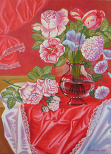 - artwork White_Roses_on_the_red_Background-1186052804.jpg - 2006, Painting Oil, Still Life