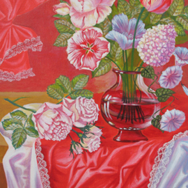 Piacheva Natalia: 'White Roses on the red Background', 2006 Oil Painting, Still Life. Artist Description:  Still Life, Floral ...