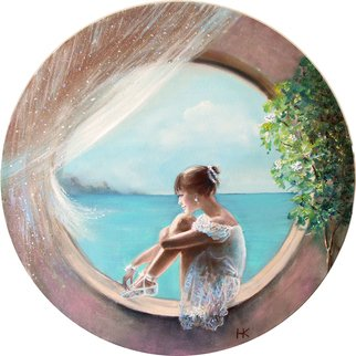 Nataly Kartseva: 'leila', 2018 Oil Painting, Glamor. Artist Description: ballerina window light  round canvas...