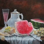 still life with watermelon By Nataly Kartseva