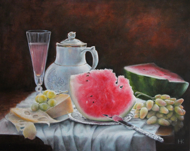 Nataly Kartseva  'Still Life With Watermelon', created in 2017, Original Painting Oil.