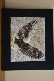 Natasa Ribac: 'Mosaic Eagle', 2018 Mosaic, Birds. Artist Description: This artwork is made of natural stones, petrified wood, semi- precious stone and crystals.  Inspired by the beauty I see in eagles, this artwork can either be hung or used as a trivet.  The piece comes in oak burnt wood frame.  This artwork has 3D details, like head ...