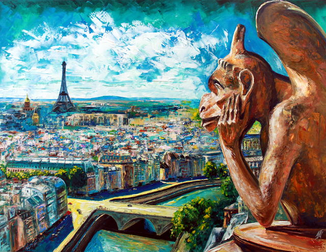 Natasha Mylius  'View From Notre Dame', created in 2018, Original Painting Acrylic.