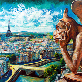 Natasha Mylius: 'view from notre dame', 2018 Oil Painting, Portrait. Artist Description: Palette knife painting in oil on canvas...