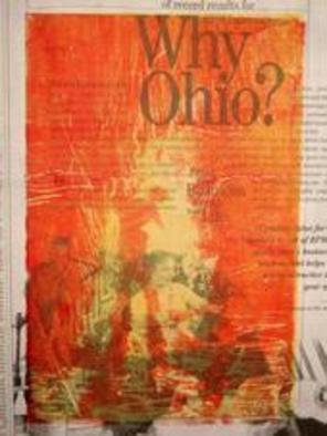 Natalie Johnston: 'Why Ohio', 2007 Woodcut, Abstract Figurative. Man dancing in a fire.  Printed on Newspaper.  Orange and yellow w/ black & white contrast....