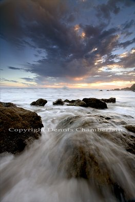 Dennis Chamberlain: 'El Matador Beach Sunset III', 2013 Color Photograph, Seascape.           Sea, seascapes, sunset, ocean, pacific coast, California beaches, El Matador Beach, Malibu, nature, landscape, water, waves, slow shutter, rocks, clouds          ...