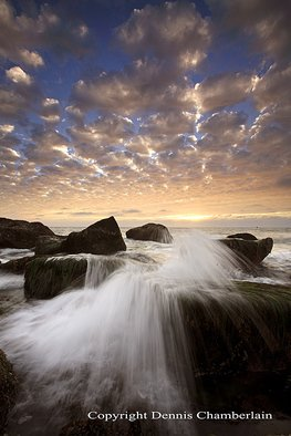 Dennis Chamberlain: 'San Pedro II', 2013 Color Photograph, Seascape.       Sea, seascapes, sunset, ocean, pacific coast, California beaches, San Pedro, nature, landscape, water, waves, slow shutter, rocks, clouds      ...