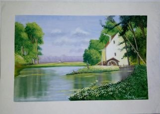 Artist: Nazir Khatry - Title: house by the lake side - Medium: Watercolor - Year: 2015