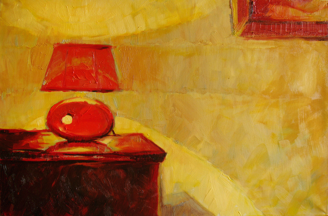 Nickolay Dudenkov  'Evening Still Life With Red Lamp', created in 2011, Original Painting Oil.