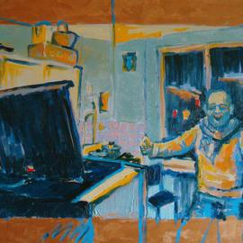 Nickolay Dudenkov: 'Kitchen in the electric light', 2011 Oil Painting, Portrait.