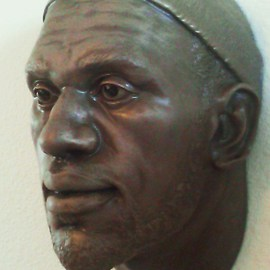 Nebel Luccion: 'LeBron James Bronze Resin Sculpture', 2014 Bronze Sculpture, Sports. Artist Description:  Beautiful life like sculpture of NBA superstar LeBron James. NBA MVPs, All- Star games, NBA Championships, you name it he has it. In light of his 61 point performance, I give you this sculpture of arguably one of the best players of our time to have in your ...