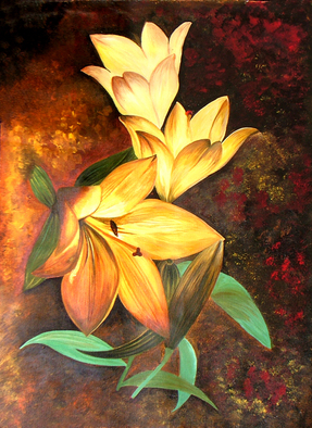 Acrylic Painting by Neeraj Parswal titled: Floral Delights Original Acrylic Painting, 2014
