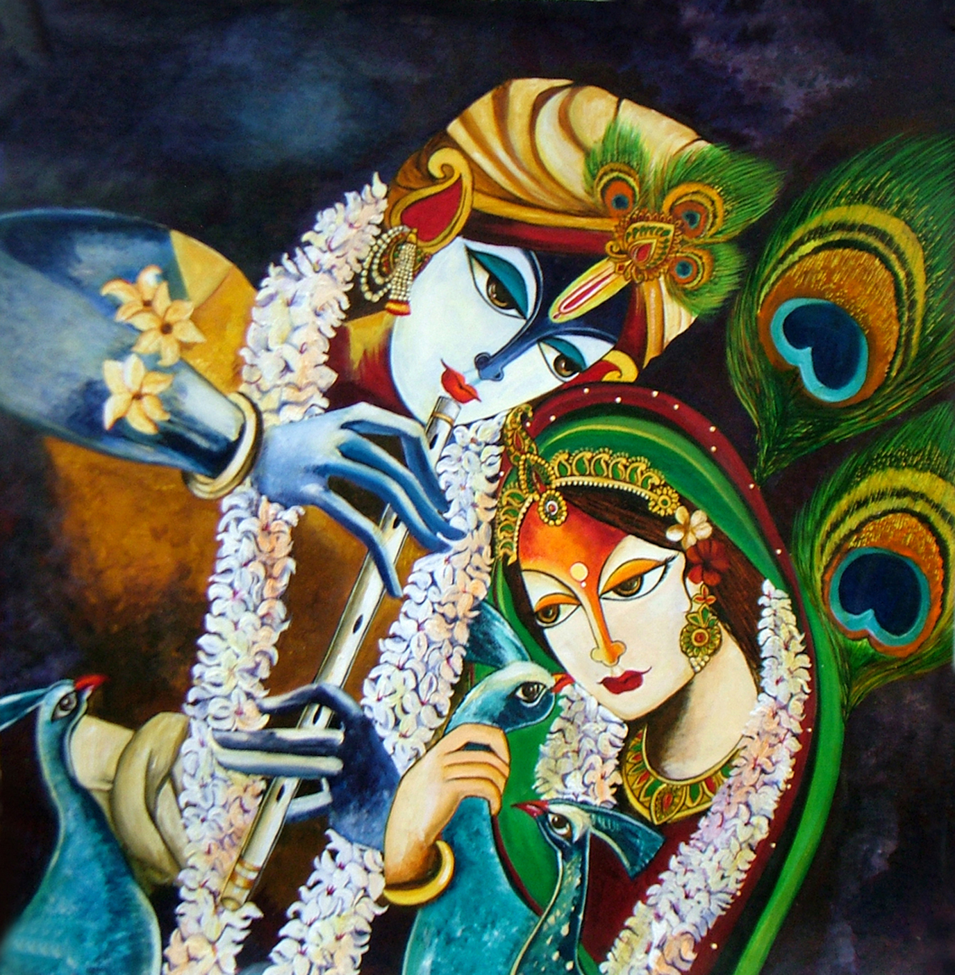 Immortal Love Of Radha Krishna Acrylic Painting By Neeraj ...