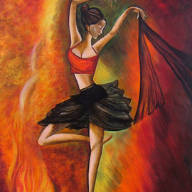 Sizzling Dance original Acrylic painting