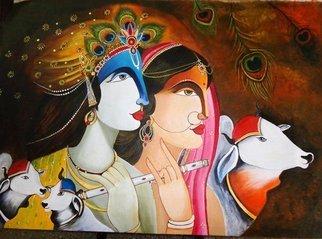 Artist: Neeraj Parswal - Title:  LordKrishna and Radha - Medium: Acrylic Painting - Year: 2014