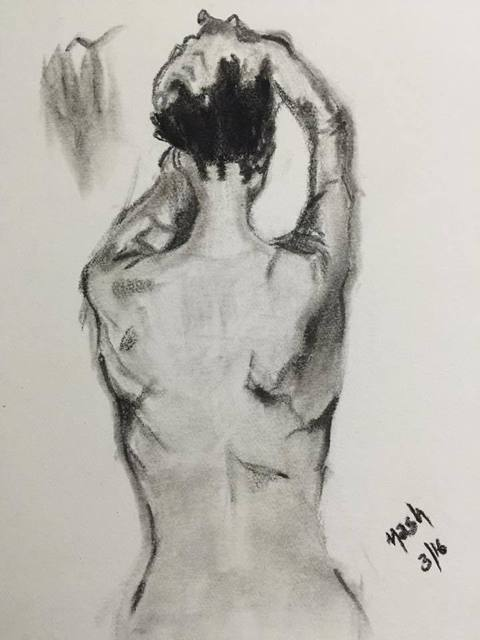 Neetasha Joshi  'Morning', created in 2016, Original Drawing Charcoal.