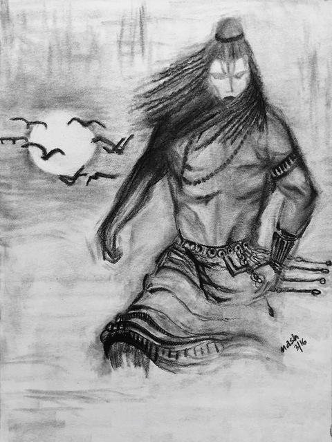 Neetasha Joshi  'Rudra Shiva', created in 2016, Original Drawing Charcoal.