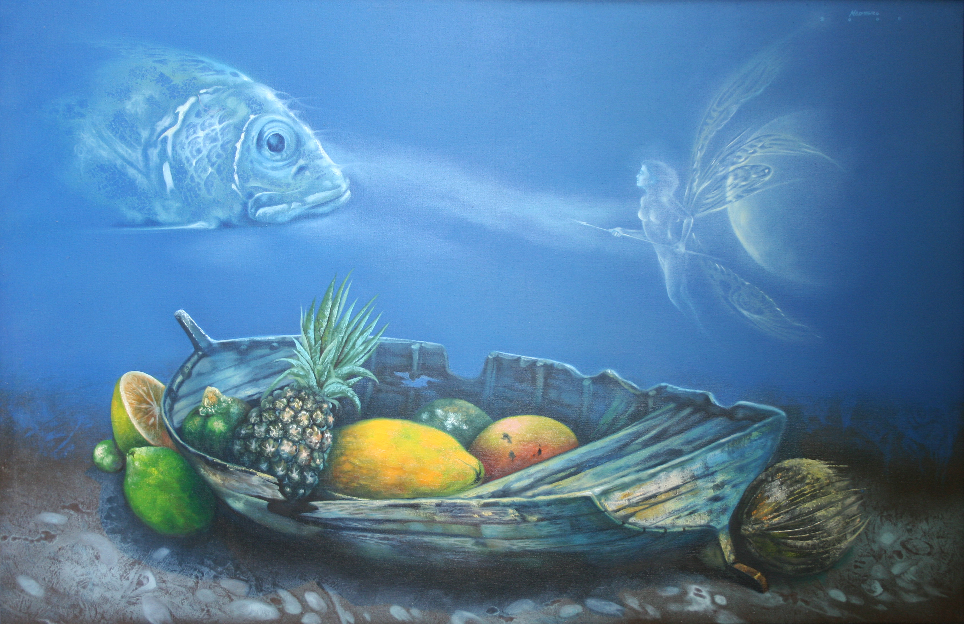 Nelson Madero Artwork: Offering Underwater | Original Painting Oil | Surrealism Art