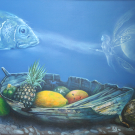 Nelson Madero Artwork Offering Underwater, 2011 Oil Painting, Surrealism