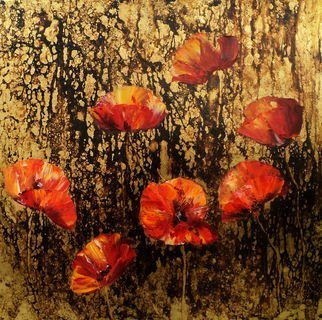 Nelu Gradeanu: 'poppies in gold', 2017 Oil Pastel, Floral. Artist Description: Original painting, unique, signed, dated, oil on wood lined with 24K gold leaf from Thailand...