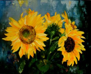 Nelu Gradeanu Artwork sunflowers, 2017 Oil Painting, Floral