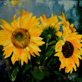 Nelu Gradeanu: 'sunflowers', 2017 Oil Painting, Floral. Artist Description: Original painting, unique, signed, dated...