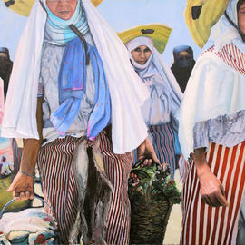 Richard Barone: 'carriers', 2016 Oil Painting, People. Artist Description: Muslim women carrying goods home from market, Tangiers, Morocco...