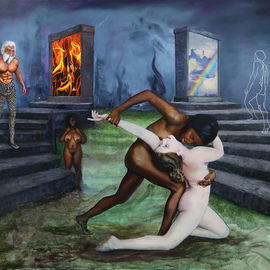 Richard Barone: 'le grande refuse', 2020 Oil Painting, Nudes. Artist Description: Inspired by Dante s Inferno, the path taken by the artist transcends his own creation. ...
