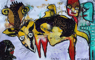 Annette Labedzki Artwork City Zoo, 2011 Mixed Media, Abstract Figurative