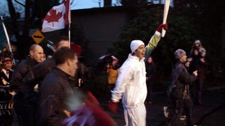 Color Photograph by Annette Labedzki titled: Olympic Torch Relay Trevor Linden, 2010