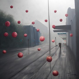 Terry Dower Artwork Its Raining Apples On George Street, 2015 Oil Painting, Surrealism