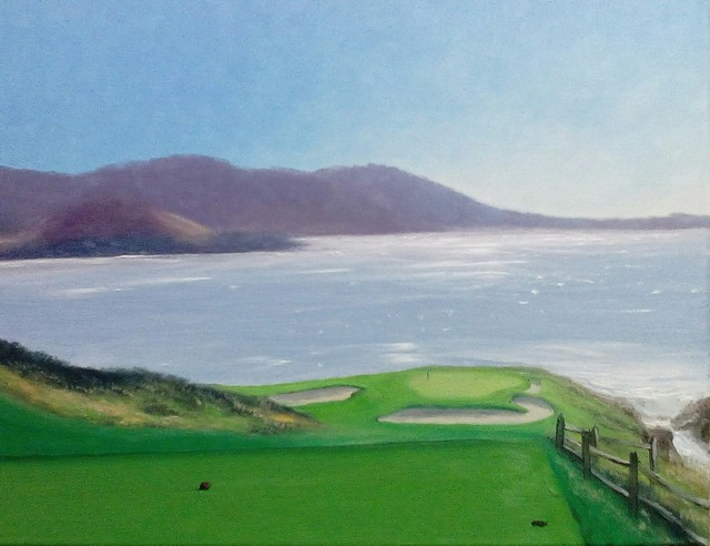 Terry Dower  'Morning Light Pebble Beach', created in 2015, Original Painting Oil.