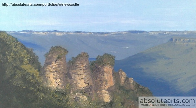 Terry Dower  'Three Sisters,Katoomba Blue Mountains Nsw Australia', created in 2013, Original Painting Oil.