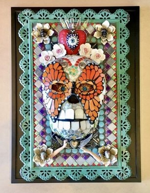 Clark-camargo Mary: 'a matter of time', 2020 Mosaic, Culture. This Day of the Dead mosaic wall hanging explores the theme of love, loss, yearning, rebirth and the passage of time. it is made from hand cut stained glass, glass tile , found objects, metal and porcelain...