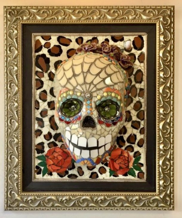 Clark-camargo Mary: 'gato mujer', 2019 Mosaic, Culture. Large 3D wall hanging consisting of an elegantly framed mosaic skull made from hand cut glass, glass tiles, porcelain, found objects and beads.  The theme is Dia de los Muertos, a woman who was mysterous and cat like. ...